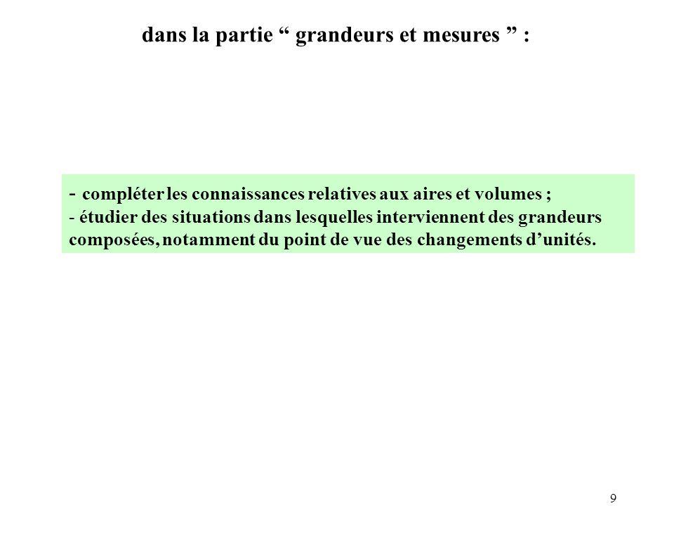9 dans la partie grandeurs et mesures : - compléter les connaissances relatives aux aires et volumes ; - étudier des situations dans lesquelles interv