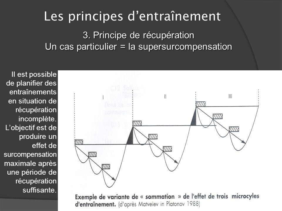 Les principes dentraînement 3. Principe de récupération Tout en respectant le principe de la charge dentraînement continu, il faut laisser le temps à