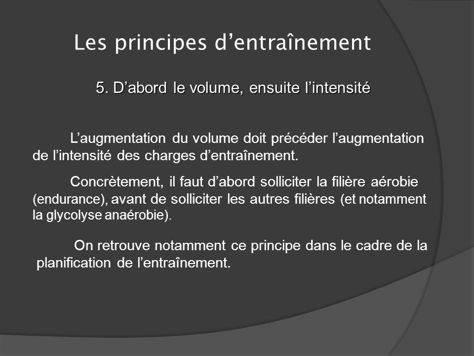 Les principes dentraînement 4. Principe de la charge dentraînement croissante Il ne suffit pas que la charge dentraînement soit continue, encore faut-
