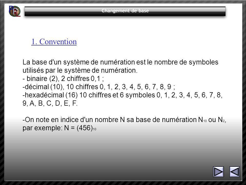 1. Convention La base d'un système de numération est le nombre de symboles utilisés par le système de numération. - binaire (2), 2 chiffres 0,1 ; -déc