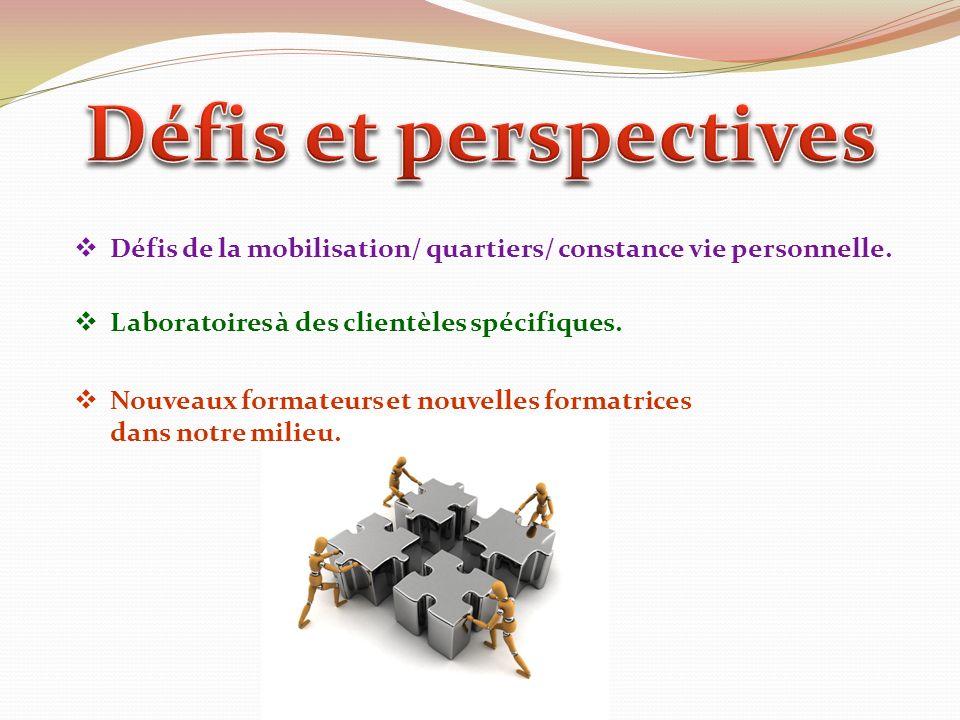 Défis de la mobilisation/ quartiers/ constance vie personnelle. Laboratoires à des clientèles spécifiques. Nouveaux formateurs et nouvelles formatrice