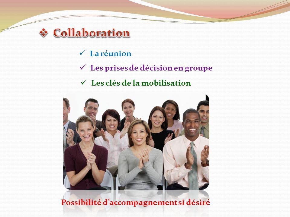 La réunion Les prises de décision en groupe Les clés de la mobilisation Possibilité daccompagnement si désiré