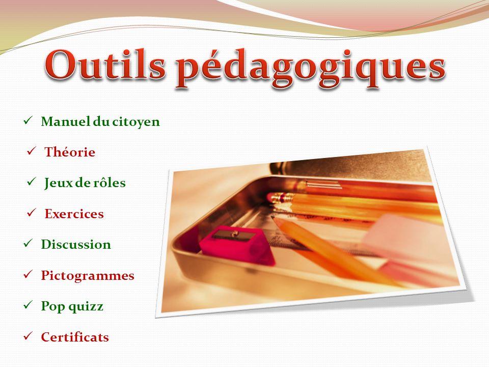 Manuel du citoyen Théorie Jeux de rôles Exercices Discussion Pictogrammes Pop quizz Certificats