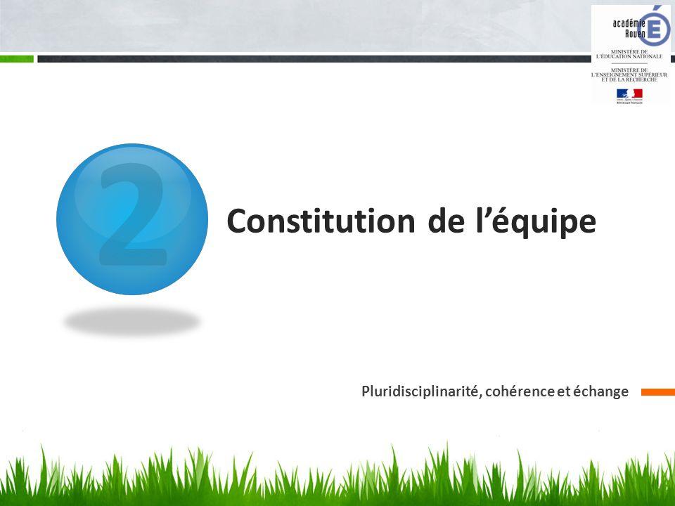2 Constitution de léquipe Pluridisciplinarité, cohérence et échange