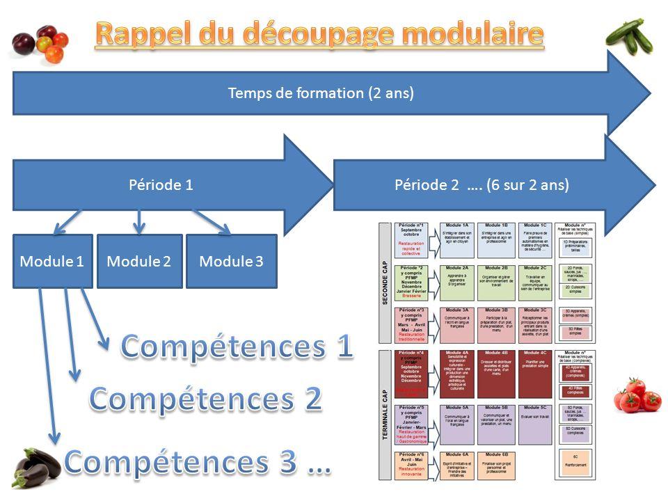 Période 1 Module 1Module 2Module 3 Temps de formation (2 ans) Période 2 …. (6 sur 2 ans)