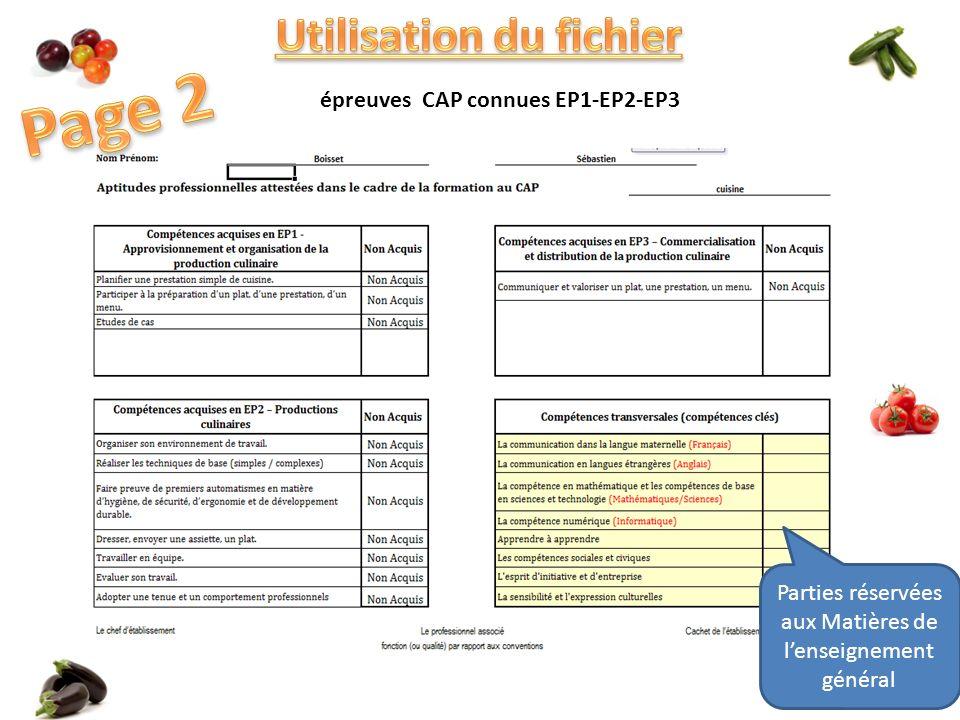 épreuves CAP connues EP1-EP2-EP3 Parties réservées aux Matières de lenseignement général