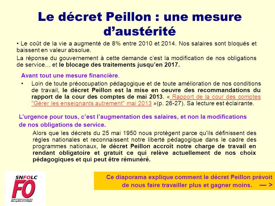 Le décret Peillon : une mesure daustérité Avant tout une mesure financière. Loin de toute préoccupation pédagogique et de toute amélioration de nos co