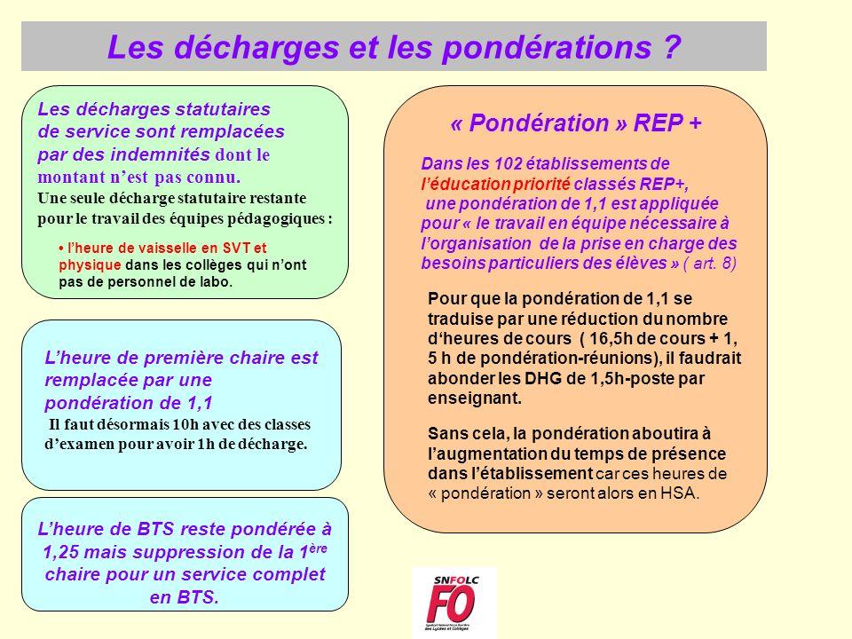 « Pondération » REP + Les décharges statutaires de service sont remplacées par des indemnités dont le montant nest pas connu. Une seule décharge statu