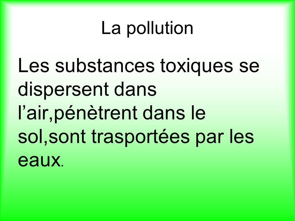 La pollution Les substances toxiques se dispersent dans lair,pénètrent dans le sol,sont trasportées par les eaux.