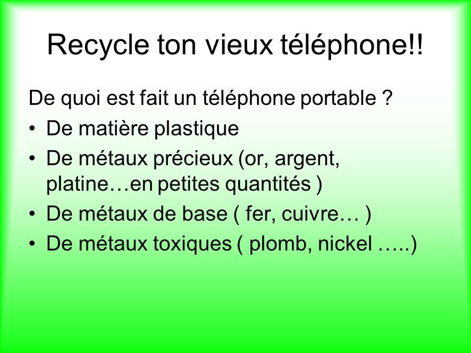 Recycle ton vieux téléphone!.De quoi est fait un téléphone portable .