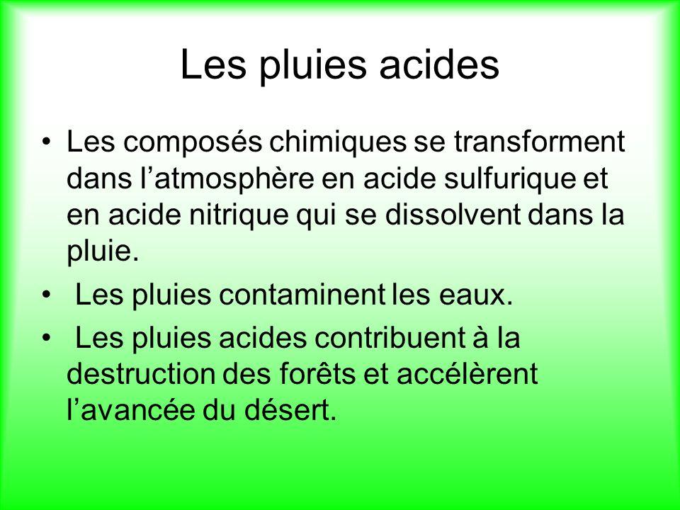 Les pluies acides Les composés chimiques se transforment dans latmosphère en acide sulfurique et en acide nitrique qui se dissolvent dans la pluie.