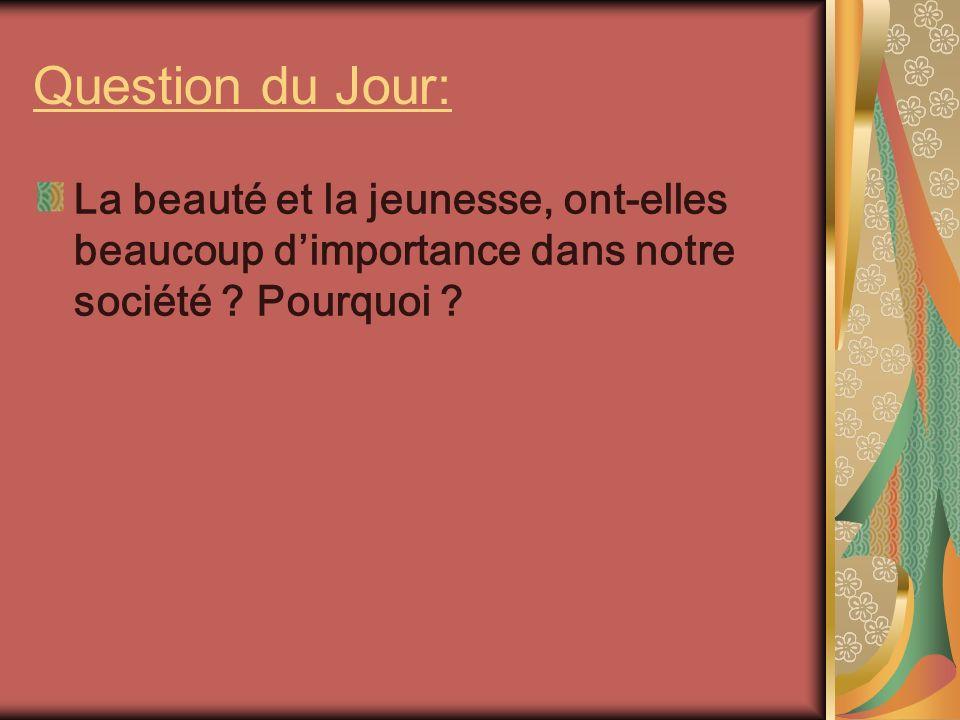 Question du Jour: La beauté et la jeunesse, ont-elles beaucoup dimportance dans notre société .