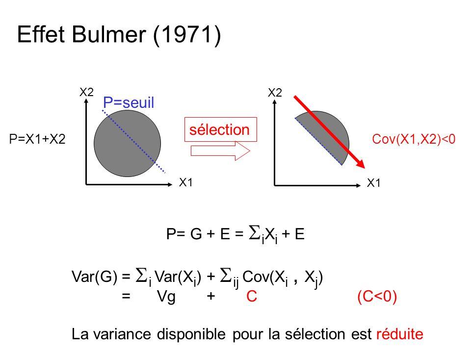 Effet Bulmer (1971) P=X1+X2 sélection X2 X1 P=seuil X2 X1 Cov(X1,X2)<0 P= G + E = i X i + E Var(G) = i Var(X i ) + ij Cov(X i, X j ) Var(G) = Vg + C (C<0) La variance disponible pour la sélection est réduite