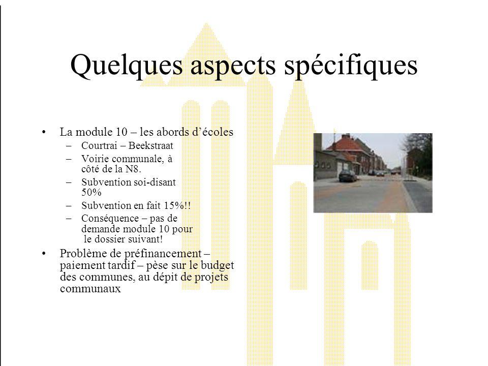 Quelques aspects spécifiques La module 10 – les abords décoles –Courtrai – Beekstraat –Voirie communale, à côté de la N8.