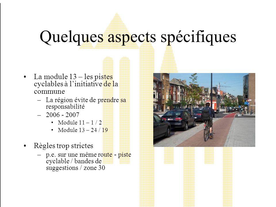 Quelques aspects spécifiques La module 13 – les pistes cyclables à linitiative de la commune –La région évite de prendre sa responsabilité –2006 - 2007 Module 11 – 1 / 2 Module 13 – 24 / 19 Règles trop strictes –p.e.