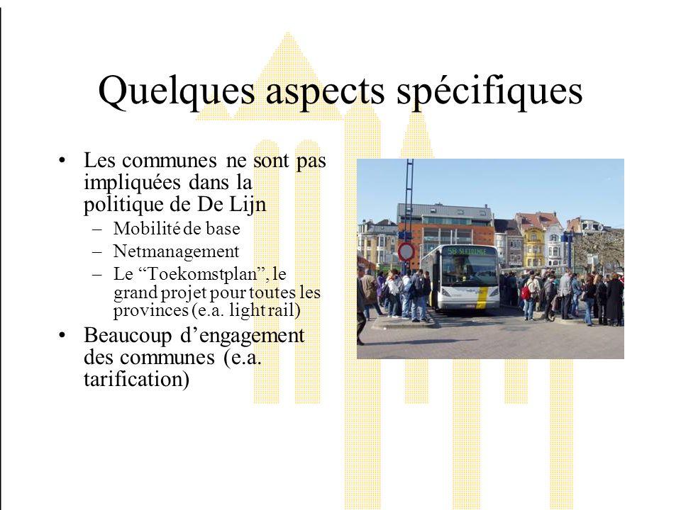 Quelques aspects spécifiques Les communes ne sont pas impliquées dans la politique de De Lijn –Mobilité de base –Netmanagement –Le Toekomstplan, le grand projet pour toutes les provinces (e.a.
