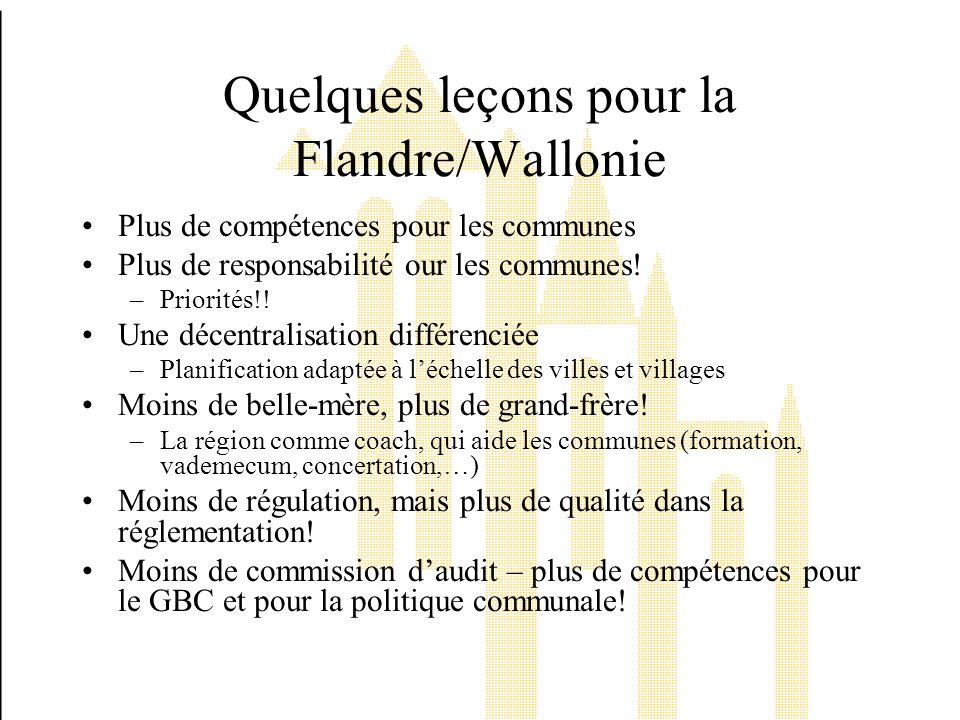 Quelques leçons pour la Flandre/Wallonie Plus de compétences pour les communes Plus de responsabilité our les communes.