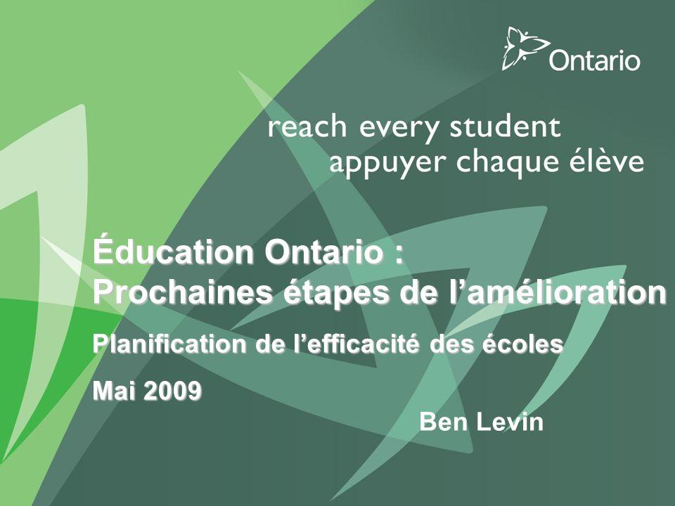 1 PUT TITLE HERE Éducation Ontario : Prochaines étapes de lamélioration Planification de lefficacité des écoles Mai 2009 Ben Levin