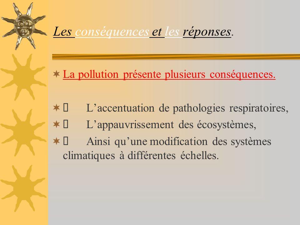 Les conséquences et les réponses.La pollution présente plusieurs conséquences.