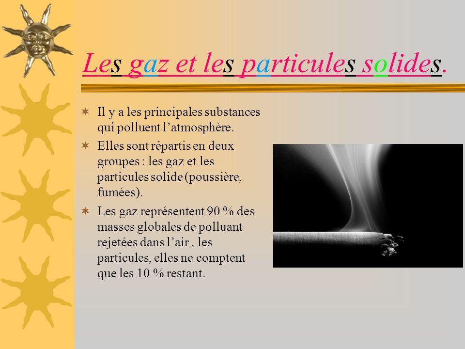 Les gaz et les particules solides.Il y a les principales substances qui polluent latmosphère.