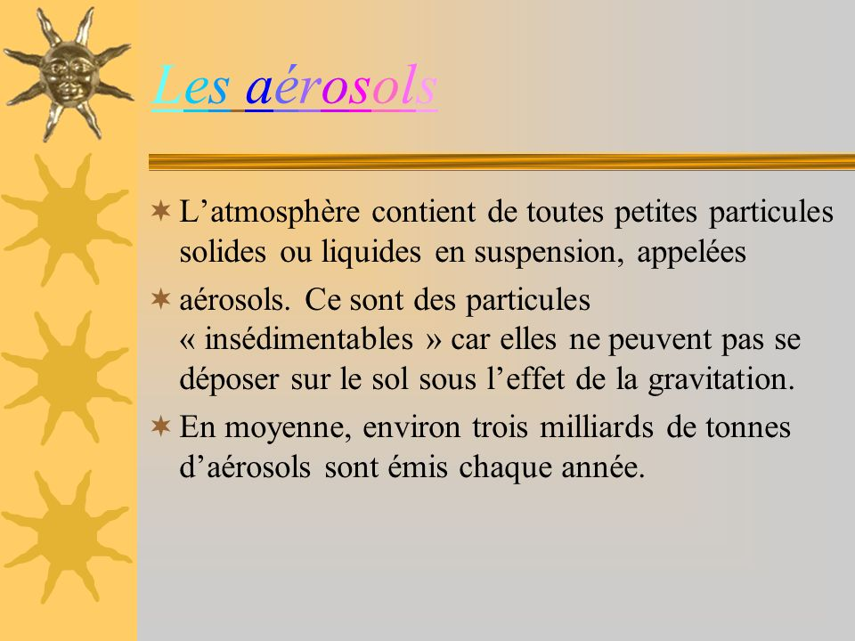 Les aérosolsLes aérosols Latmosphère contient de toutes petites particules solides ou liquides en suspension, appelées aérosols.