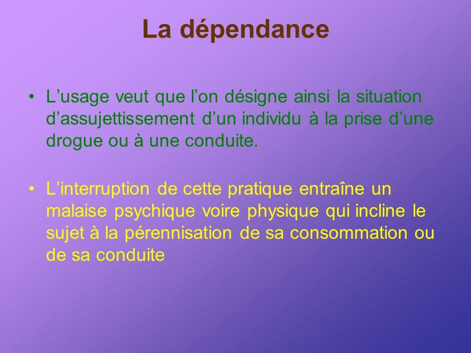 La dépendance Lusage veut que lon désigne ainsi la situation dassujettissement dun individu à la prise dune drogue ou à une conduite. Linterruption de