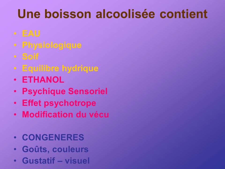 Une boisson alcoolisée contient EAU Physiologique Soif Equilibre hydrique ETHANOL Psychique Sensoriel Effet psychotrope Modification du vécu CONGENERE