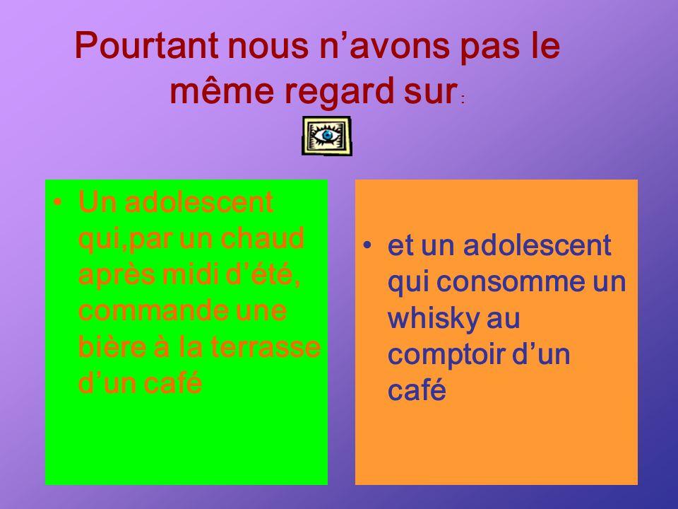 Un adolescent qui,par un chaud après midi dété, commande une bière à la terrasse dun café Pourtant nous navons pas le même regard sur : et un adolesce