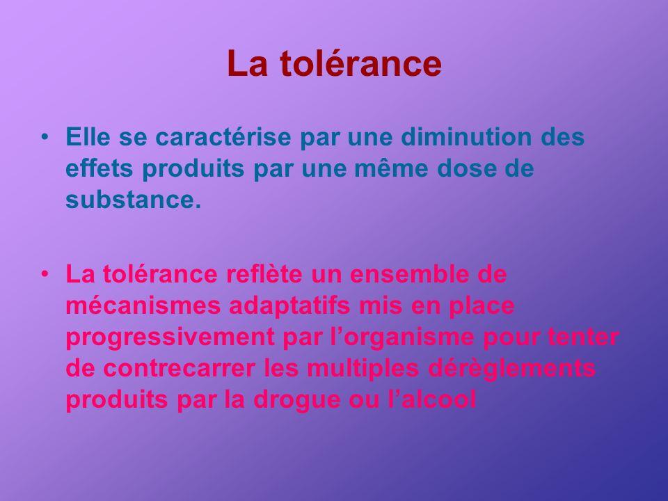 La tolérance Elle se caractérise par une diminution des effets produits par une même dose de substance. La tolérance reflète un ensemble de mécanismes