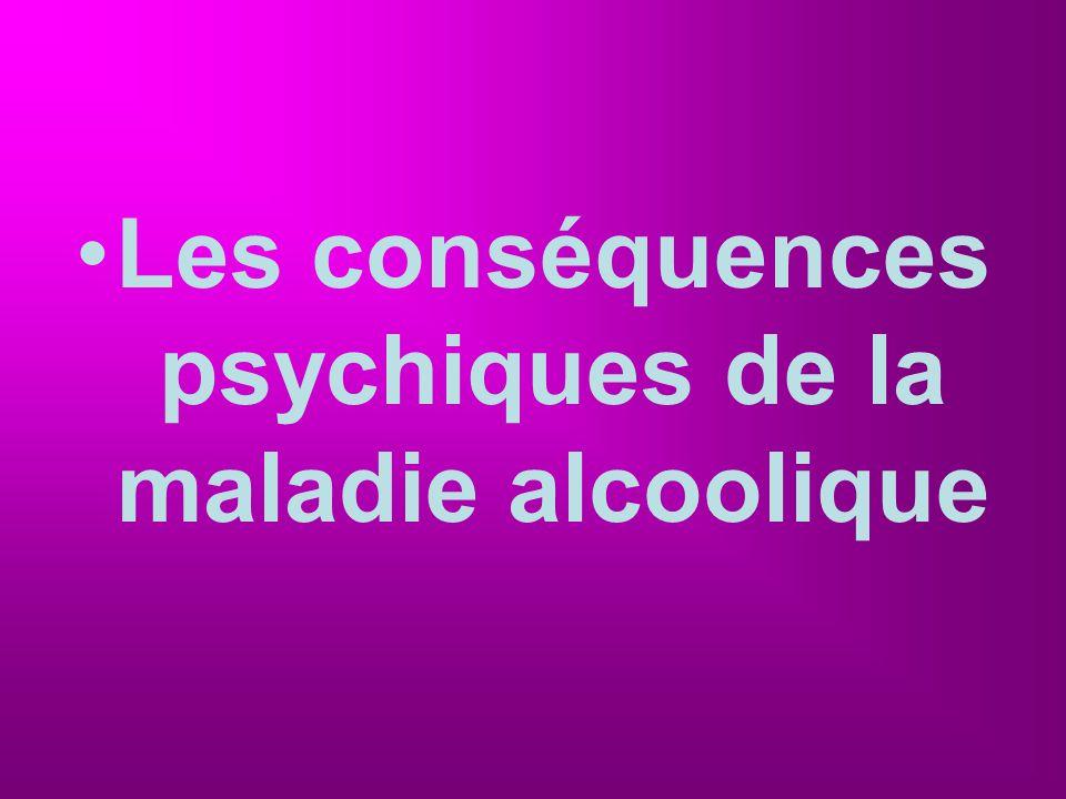 Les conséquences psychiques de la maladie alcoolique