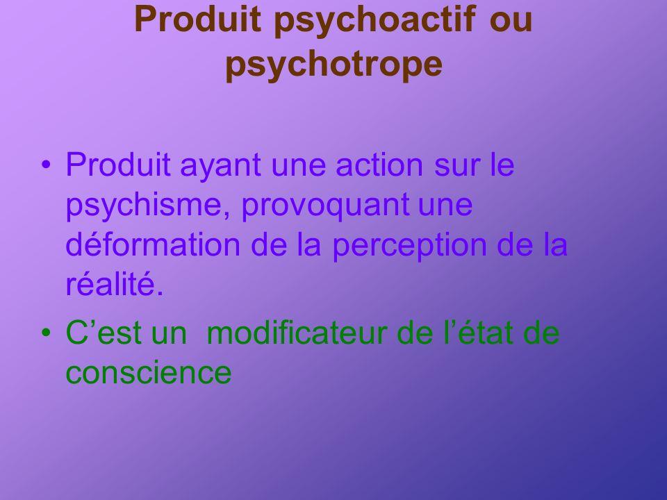 Produit psychoactif ou psychotrope Produit ayant une action sur le psychisme, provoquant une déformation de la perception de la réalité. Cest un modif