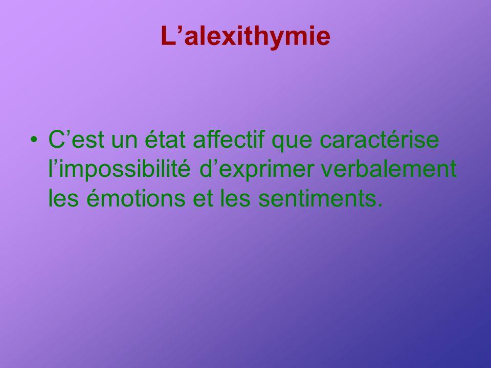Lalexithymie Cest un état affectif que caractérise limpossibilité dexprimer verbalement les émotions et les sentiments.