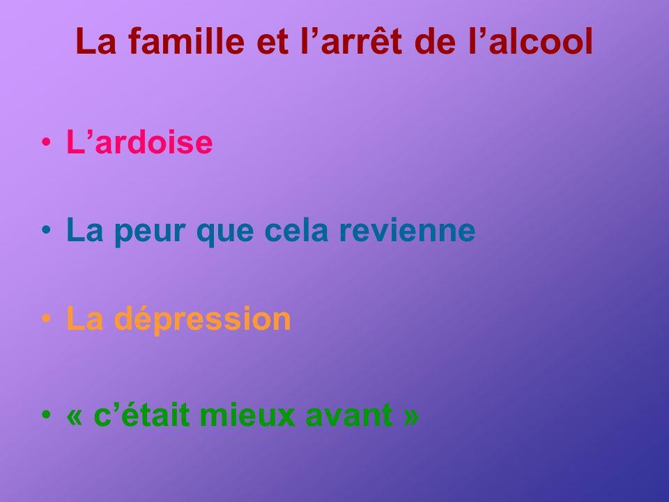 La famille et larrêt de lalcool Lardoise La peur que cela revienne La dépression « cétait mieux avant »