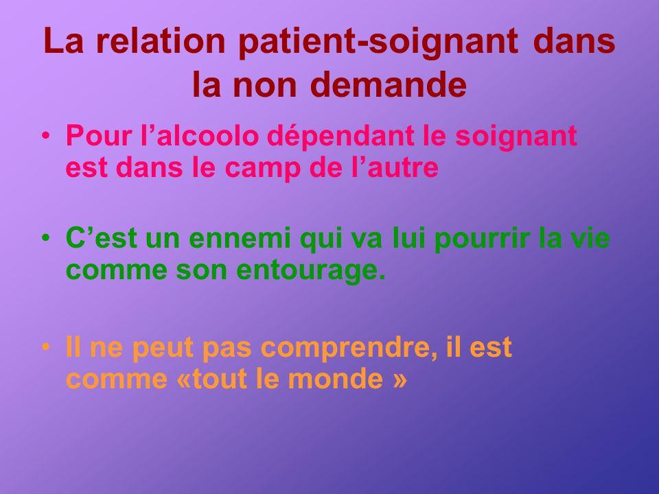 La relation patient-soignant dans la non demande Pour lalcoolo dépendant le soignant est dans le camp de lautre Cest un ennemi qui va lui pourrir la v