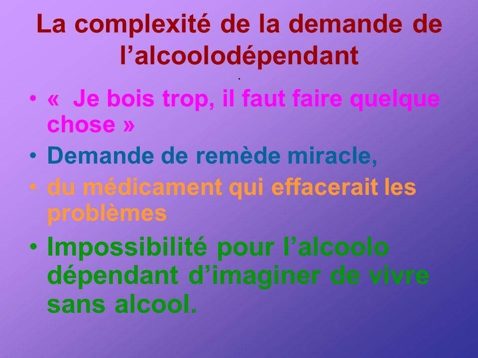 La complexité de la demande de lalcoolodépendant. « Je bois trop, il faut faire quelque chose » Demande de remède miracle, du médicament qui effacerai