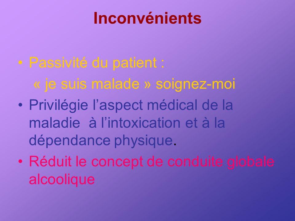 Inconvénients Passivité du patient : « je suis malade » soignez-moi Privilégie laspect médical de la maladie à lintoxication et à la dépendance physiq