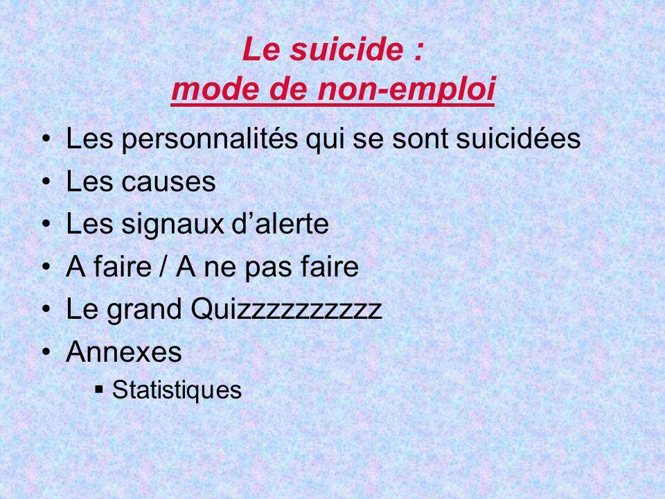 Les personnalités qui se sont suicidées Les causes Les signaux dalerte A faire / A ne pas faire Le grand Quizzzzzzzzzz Annexes Le suicide : mode de non-emploi Statistiques