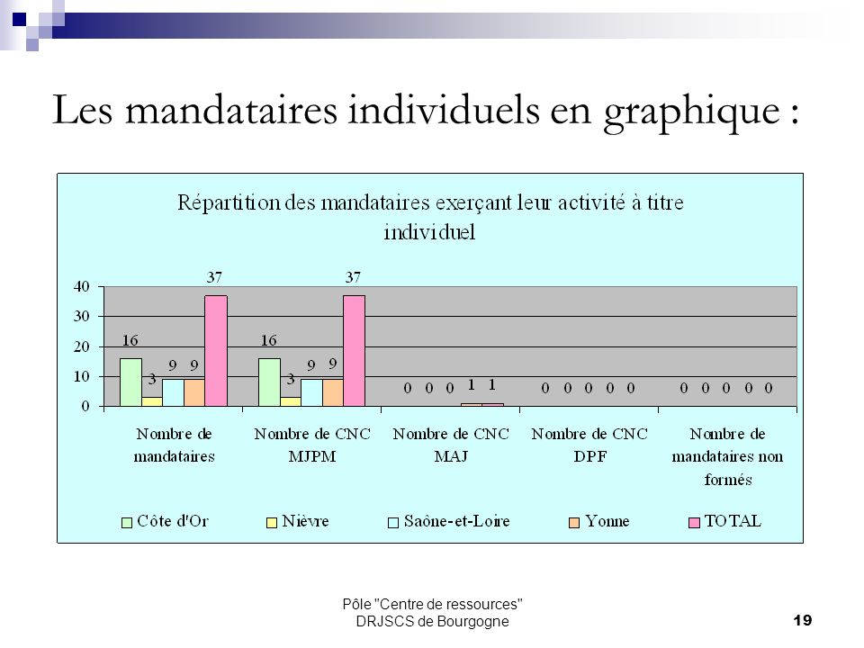 Pôle Centre de ressources DRJSCS de Bourgogne19 Les mandataires individuels en graphique :