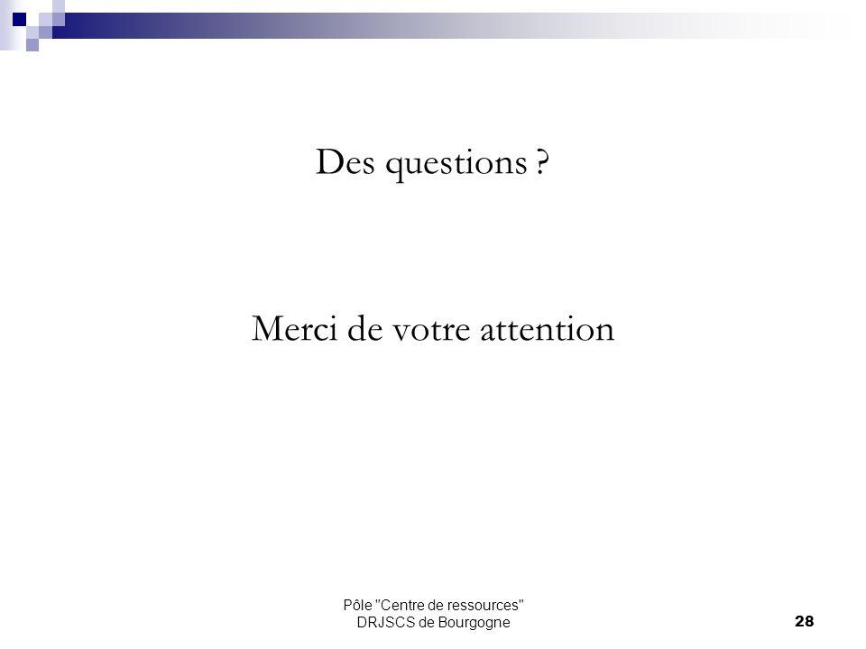 Pôle Centre de ressources DRJSCS de Bourgogne28 Des questions Merci de votre attention