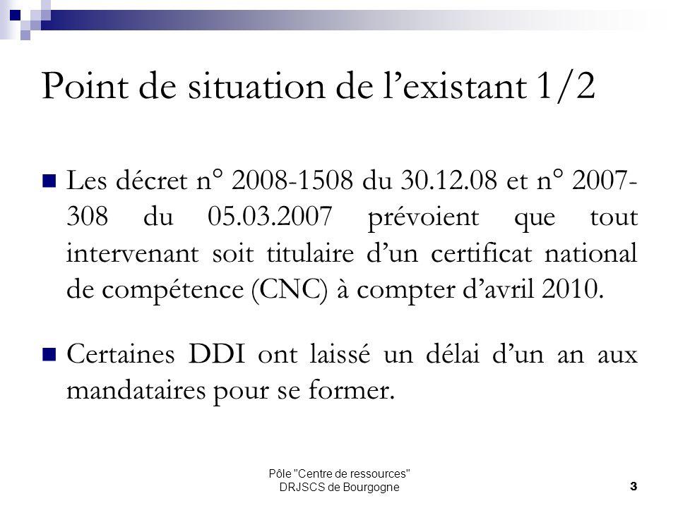 Pôle Centre de ressources DRJSCS de Bourgogne3 Point de situation de lexistant 1/2 Les décret n° 2008-1508 du 30.12.08 et n° 2007- 308 du 05.03.2007 prévoient que tout intervenant soit titulaire dun certificat national de compétence (CNC) à compter davril 2010.