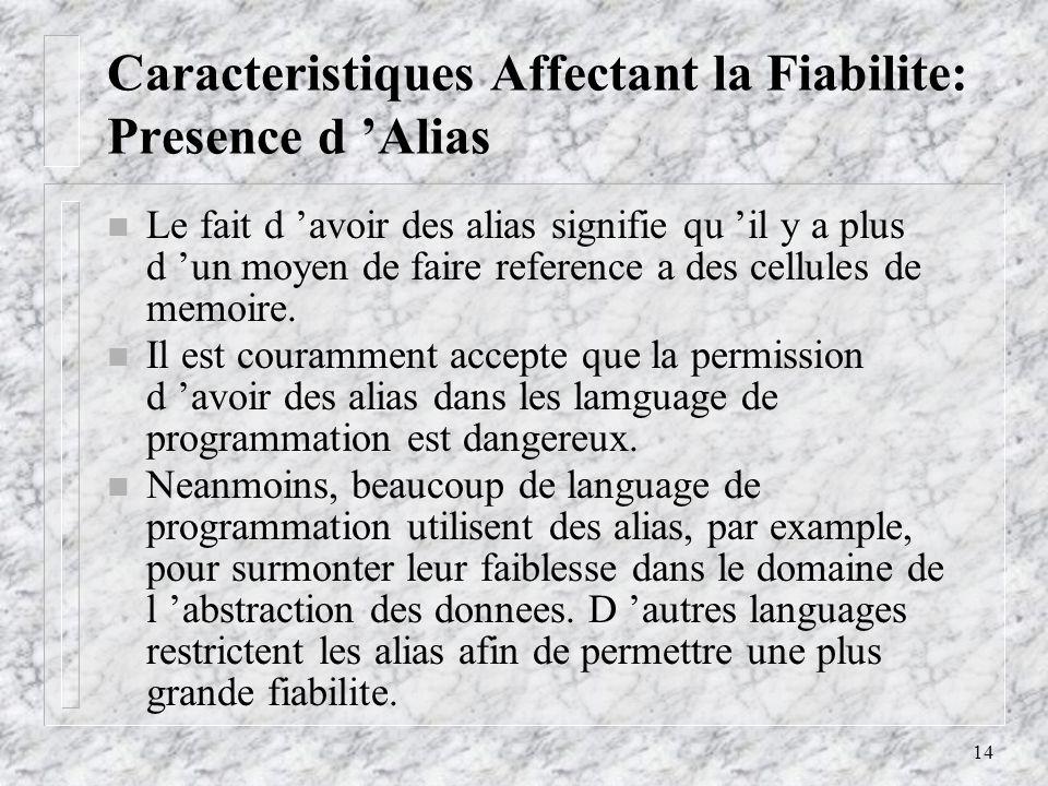 14 Caracteristiques Affectant la Fiabilite: Presence d Alias n Le fait d avoir des alias signifie qu il y a plus d un moyen de faire reference a des cellules de memoire.