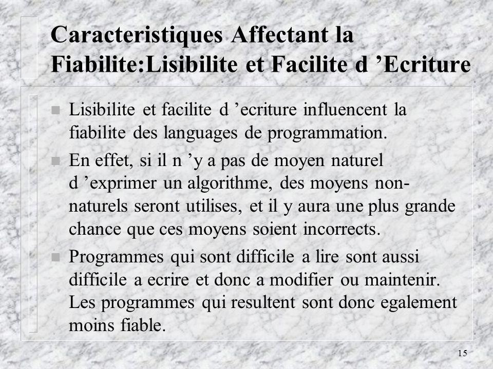 15 Caracteristiques Affectant la Fiabilite:Lisibilite et Facilite d Ecriture n Lisibilite et facilite d ecriture influencent la fiabilite des languages de programmation.