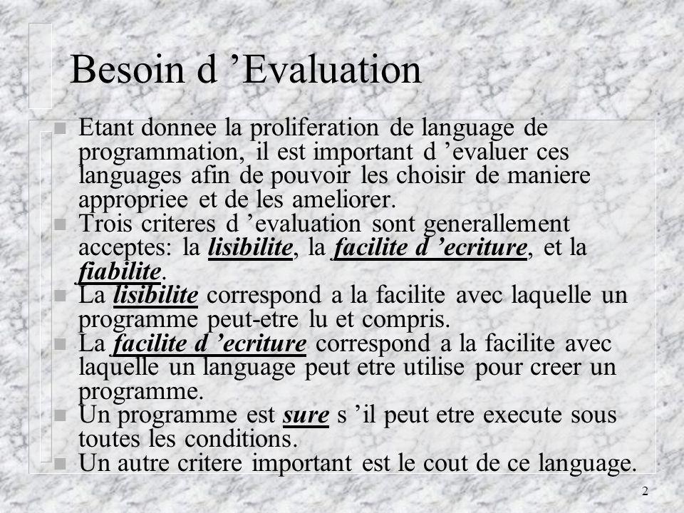 2 Besoin d Evaluation n Etant donnee la proliferation de language de programmation, il est important d evaluer ces languages afin de pouvoir les choisir de maniere appropriee et de les ameliorer.