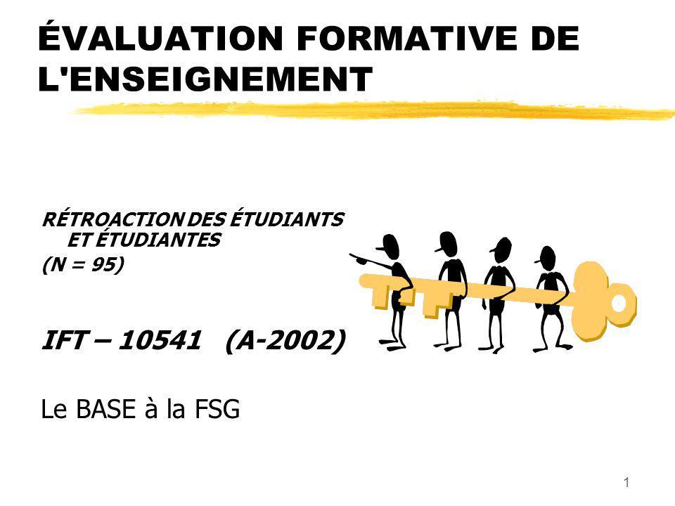 1 ÉVALUATION FORMATIVE DE L ENSEIGNEMENT RÉTROACTION DES ÉTUDIANTS ET ÉTUDIANTES (N = 95) IFT – 10541 (A-2002) Le BASE à la FSG