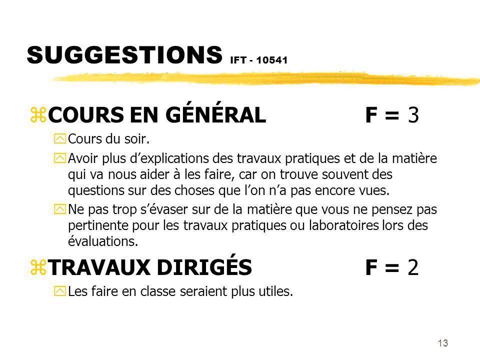 13 SUGGESTIONS IFT - 10541 zCOURS EN GÉNÉRALF = 3 yCours du soir.