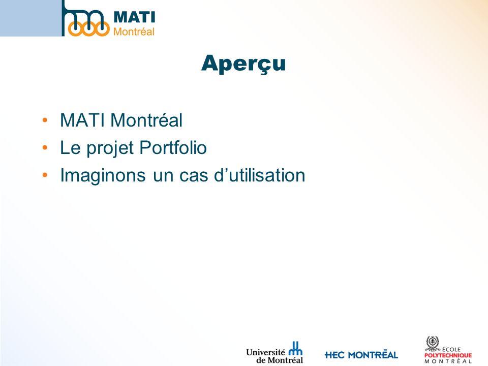 Aperçu MATI Montréal Le projet Portfolio Imaginons un cas dutilisation