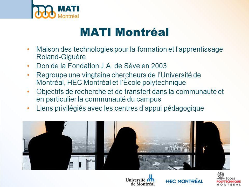 MATI Montréal Maison des technologies pour la formation et lapprentissage Roland-Giguère Don de la Fondation J.A. de Sève en 2003 Regroupe une vingtai