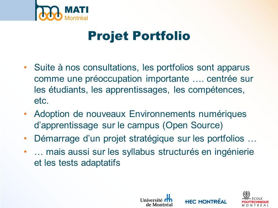 Projet Portfolio Suite à nos consultations, les portfolios sont apparus comme une préoccupation importante …. centrée sur les étudiants, les apprentis