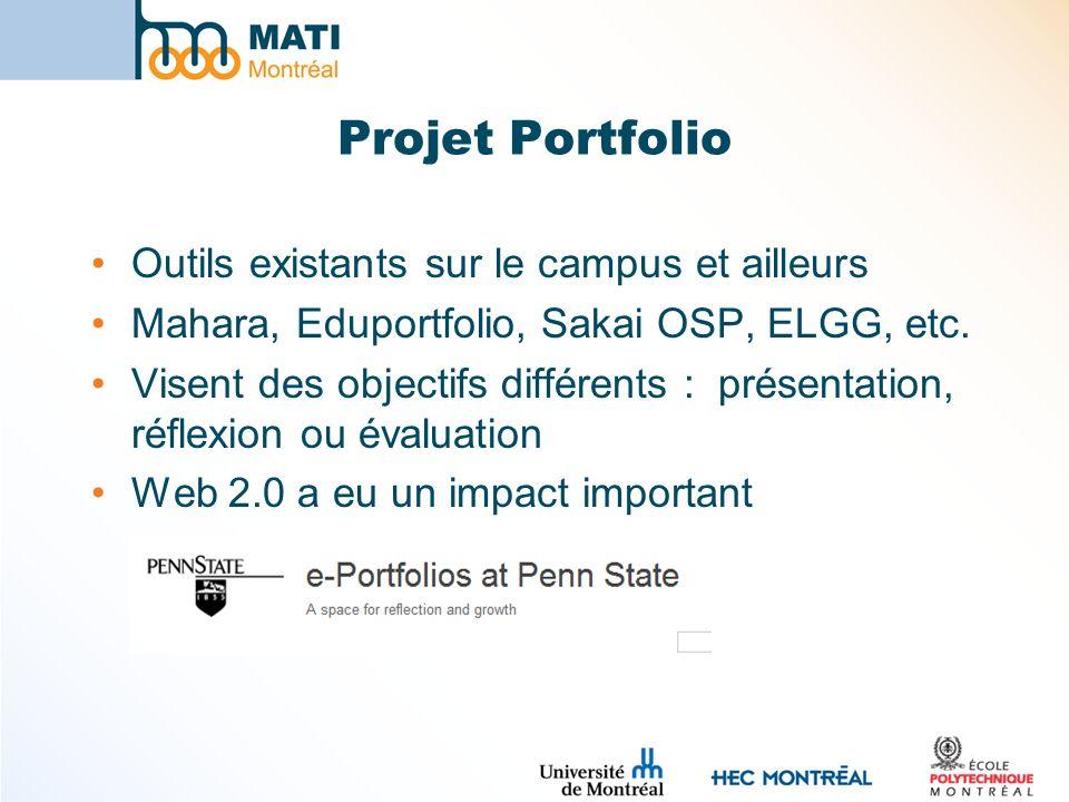 Projet Portfolio Outils existants sur le campus et ailleurs Mahara, Eduportfolio, Sakai OSP, ELGG, etc. Visent des objectifs différents : présentation