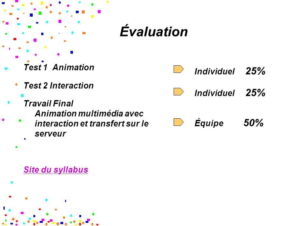 Évaluation Test 1 Animation Test 2 Interaction Travail Final Animation multimédia avec interaction et transfert sur le serveur Site du syllabus Individuel 25% Équipe 50%